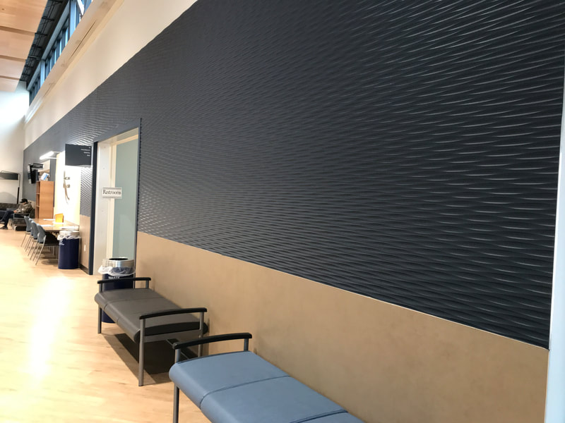 HDU, sign foam, sound dampening wall, custom carved wall panel system, lobby design, Billings, MT