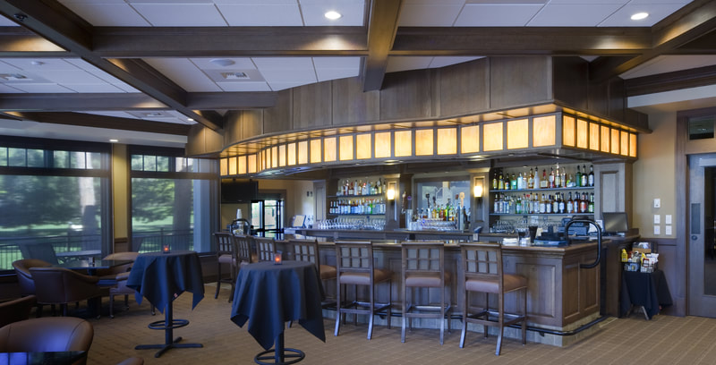 Commercial bar, custom furnishings, retail space, country club, retail architecture