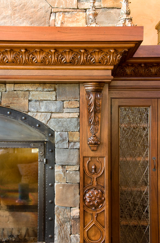 Custom Fireplace Mantels, carved corbels, fine millwork, high end residential finishes, Billings