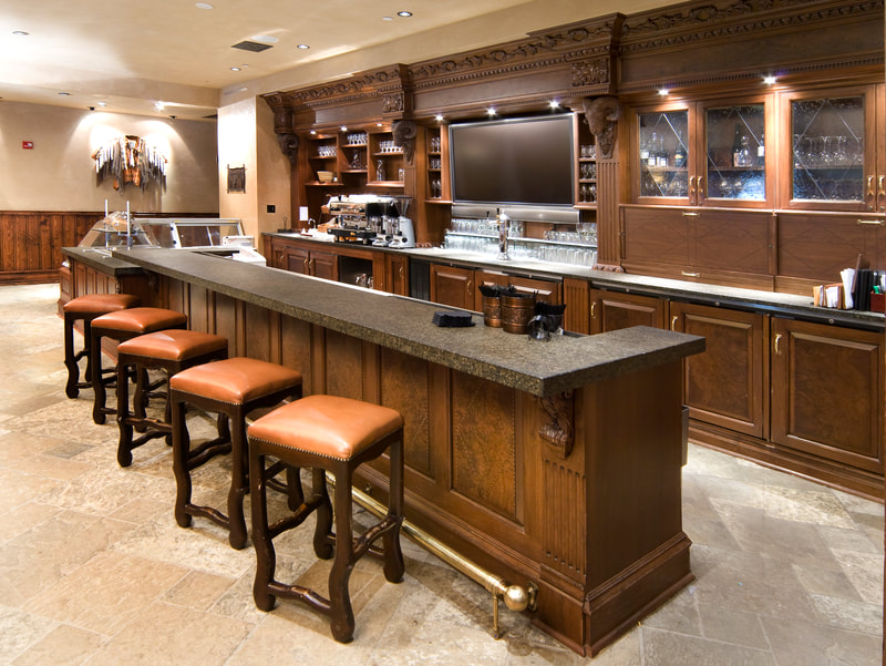 Commercial woodworking, retail architecture, custom bar, commercial design, Northern Rockies