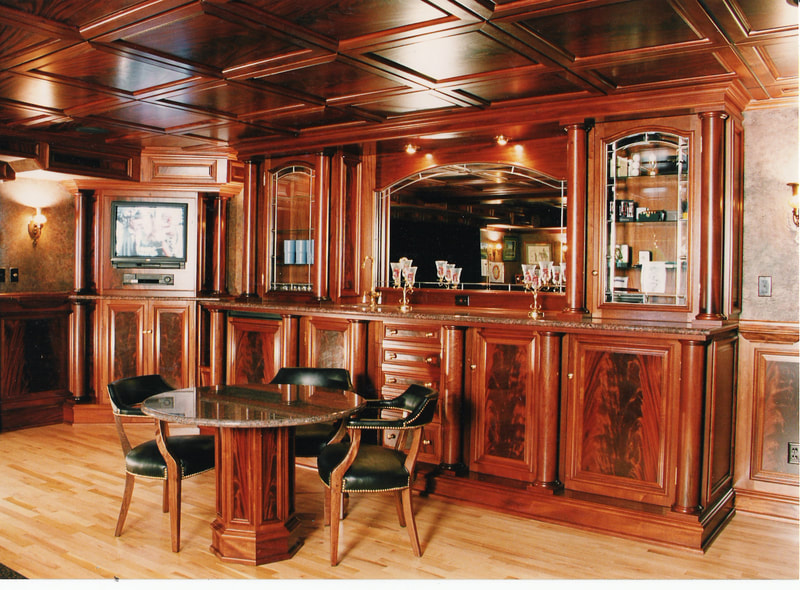 high end cabinets, wooden bar, casework, California